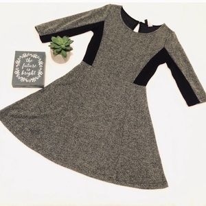 H&M heather grey black color block skater dress